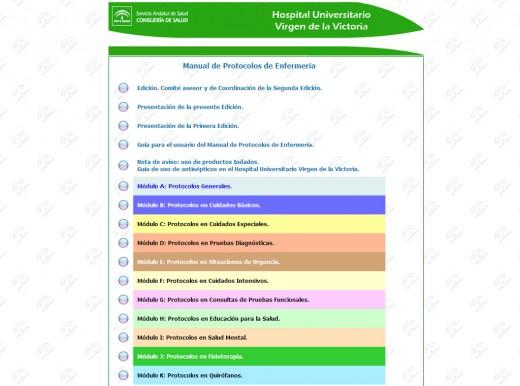 Portal de acceso en Intranet a los protocolos de enfermería